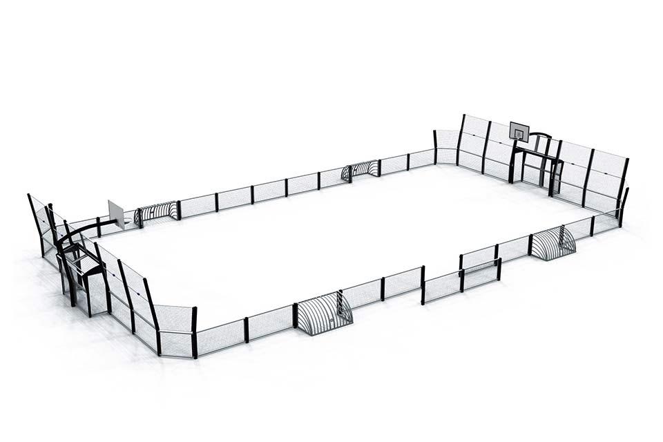 Maquette d'un Omnistadium standard D, avec des pares-ballons uniquement derrière les cages