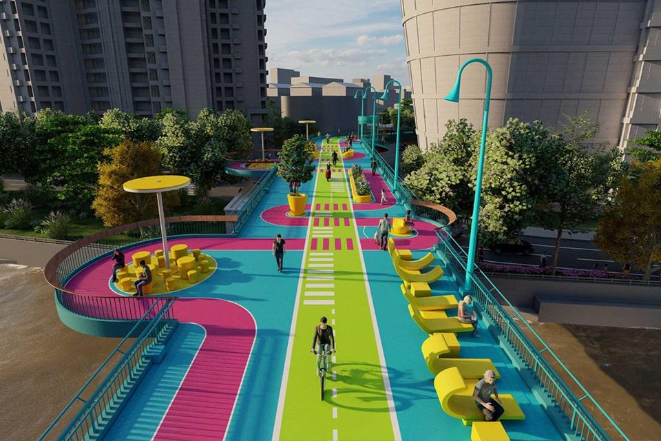 activation d'un pont par 100 architects
