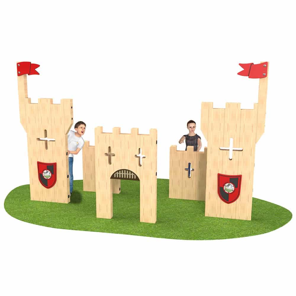 panneaux en bois en forme de chateau pour jeu de role dans une aire de jeu