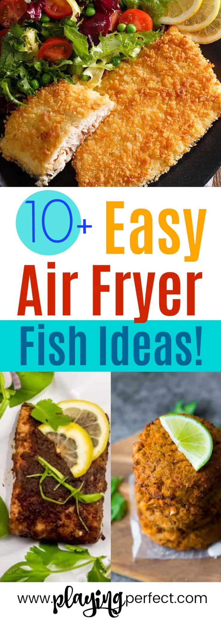 Air fryer fish recipes! If you're looking for some healthy air fryer recipes, you're going to love these easy air fryer recipes! Click over to discover the best fish air fryer recipes that will be the best air fryer recipes ever! FREE printable pack too! | playingperfect.com |
