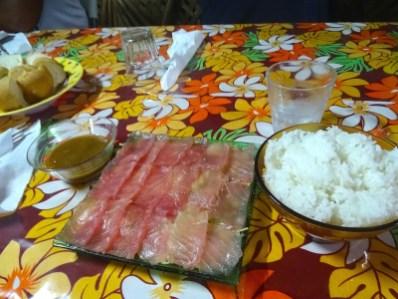 Sashimi de thon rouge frais