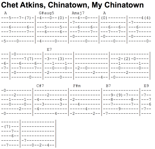 Chet Atkins - Chinatown Tab Example