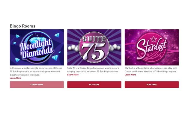 Three bingo rooms at Play Now Canada