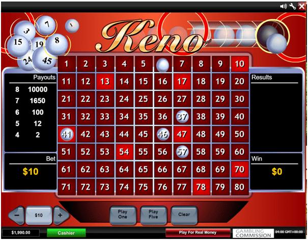 Mansion casino Keno game in CAD