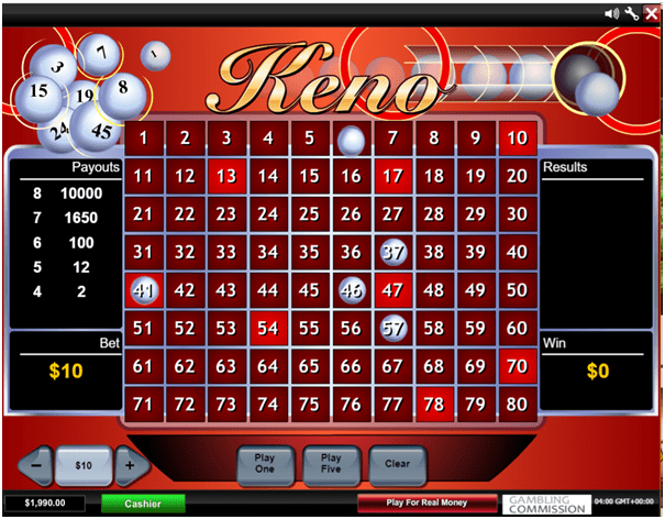 Mansion casino Keno game in CAD