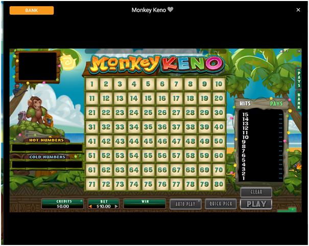 Spin Palace Casino Keno Game