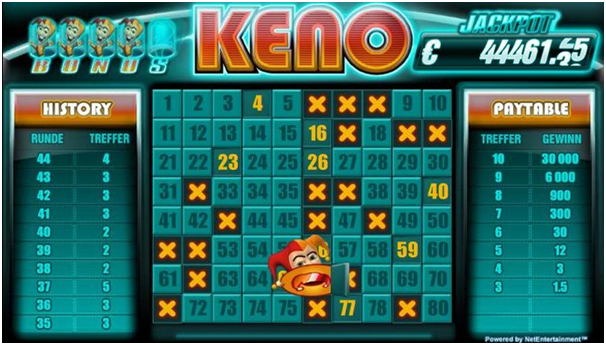Type of bets at Keno games online casinos