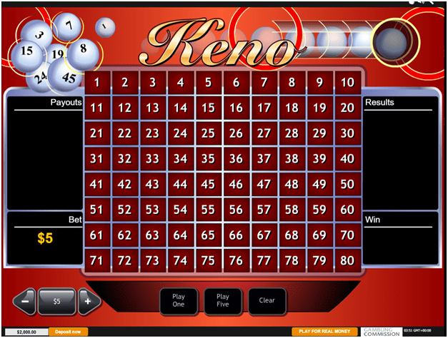 Keno Game at Casino Canada