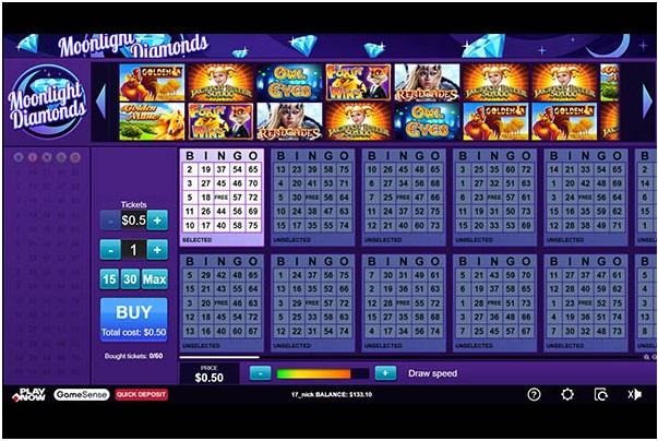 Moonlight Diamonds bingo room at Play Now Canada