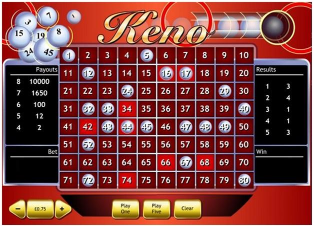 Top three Keno games at Casino.com Canada - Standard Keno
