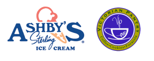 Ashby's ice cream and Victorian Pantry logos
