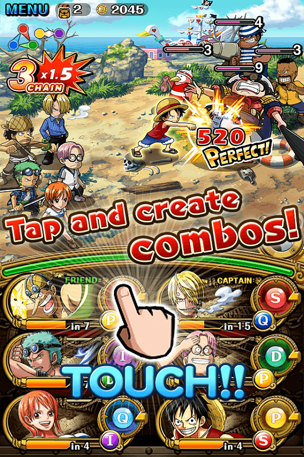 Battle enemies and create combos in One Piece Treasure Cruise