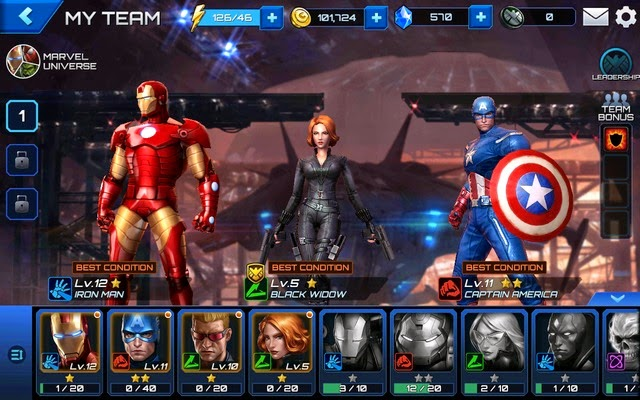 Marvel Future Fight Team Selection Screen