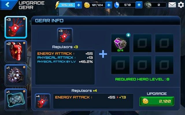 Upgrade a hero's gear