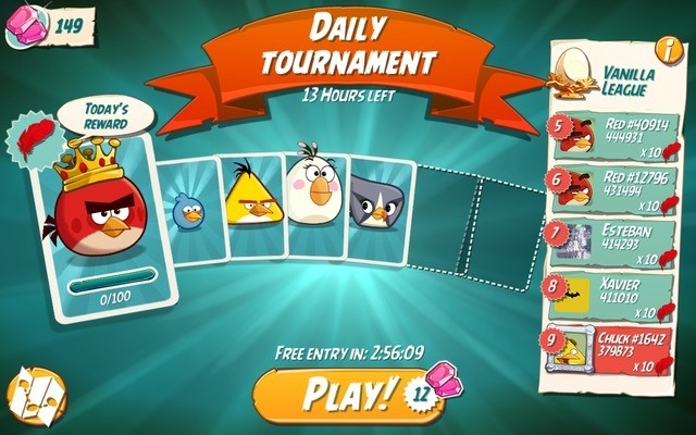 Play Angry Birds 2's daily tournament