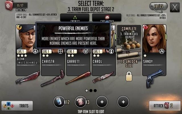 Team selection screen