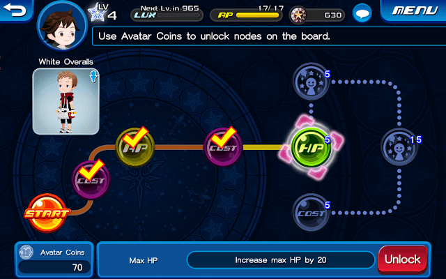 Use Avatar Coins to unlock Nodes
