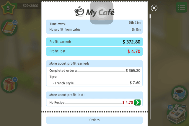 My Cafe Bill shows Bonus Earnings from French Style Furniture