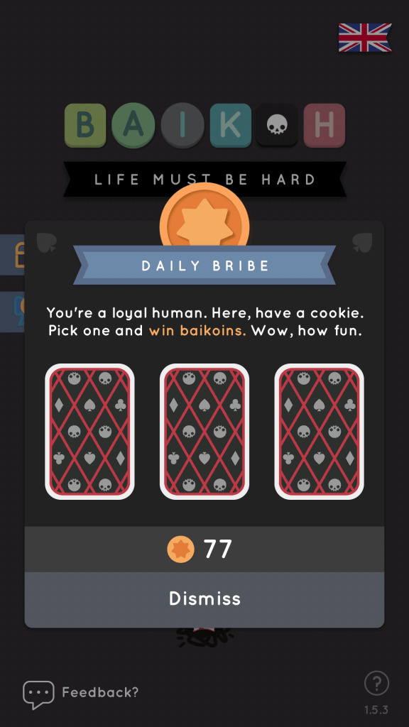 Earn Baikoins by playing the Daily Bribe mini-game
