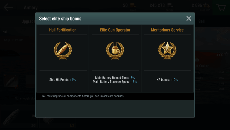 Get elite ship bonus by maxing out warship upgrades