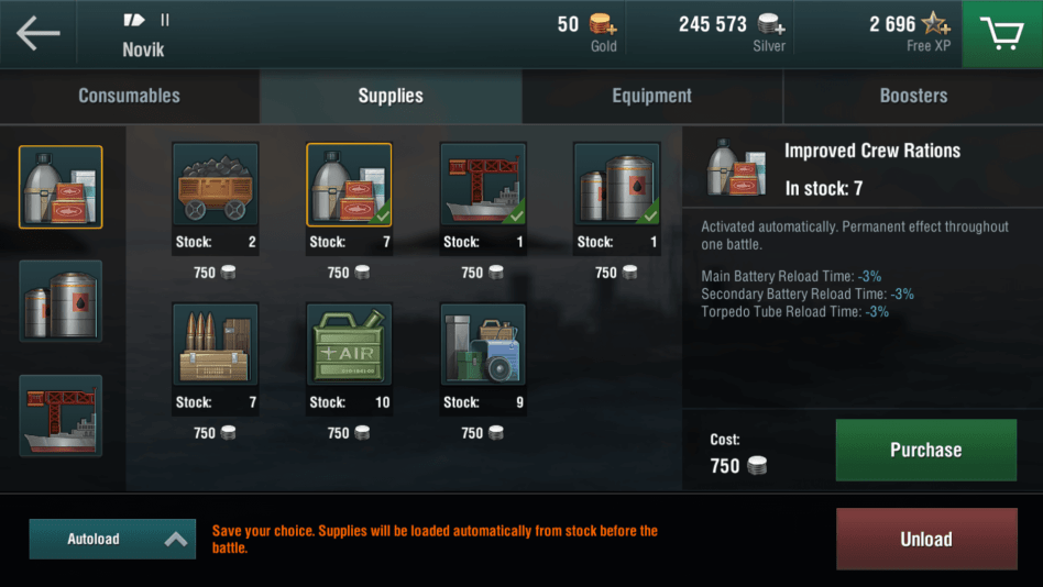 Equip supplies and consumables to your Warship