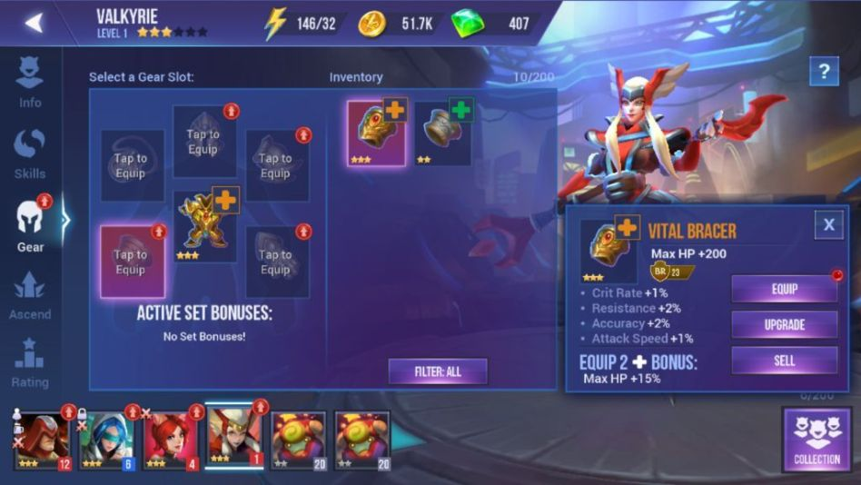Equipping gear to champions