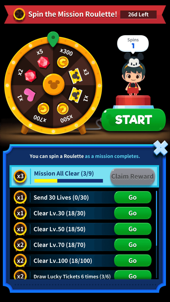 Spin the Mission Roulette in Disney Pop Town to get Lucky Tickets