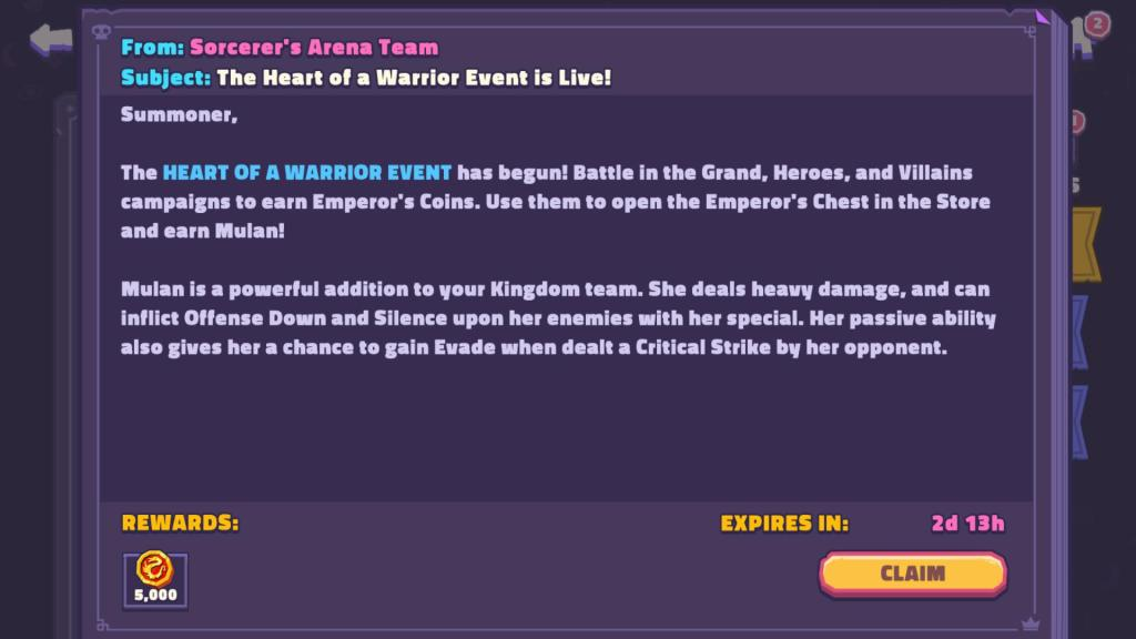 Check the mailbox to claim 5K Emperor's Coins