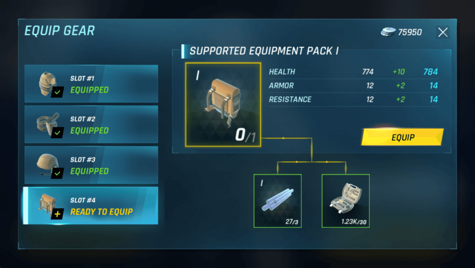 Equip gear to increase stats