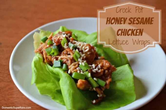 Honey Sesame Chicken Lettuce Wraps from Domestic Superhero