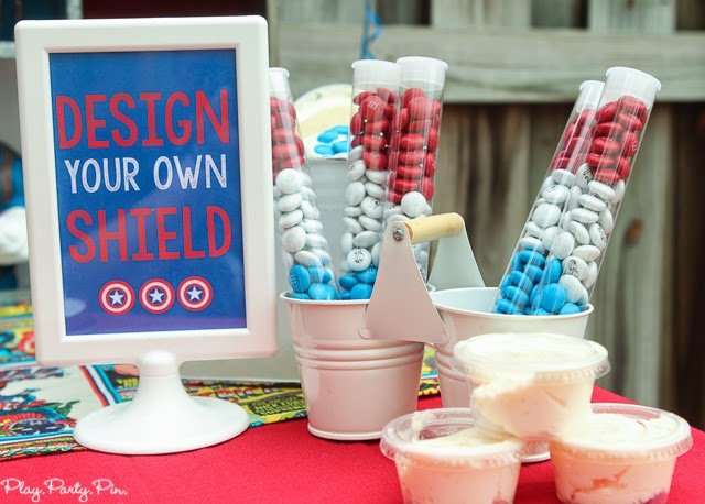 Design a Captain America cookie shield station idea from playpartyplan.com