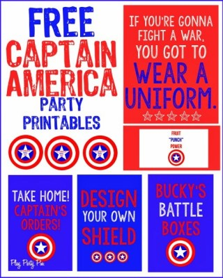 Free Captain America party printables from playpartyplan.com