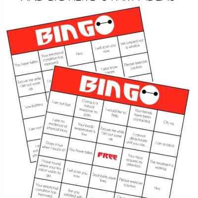 Big Hero 6 Party Ideas: Baymax Bingo