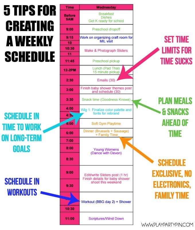 create a weekly schedule online