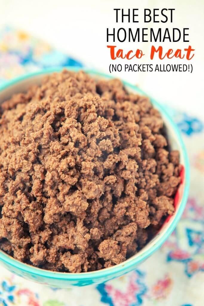 This is the best absolute homemade taco meat, perfect for filling tacos, enchiladas, tostadas and more! All from scratch, no packet seasonings allowed!