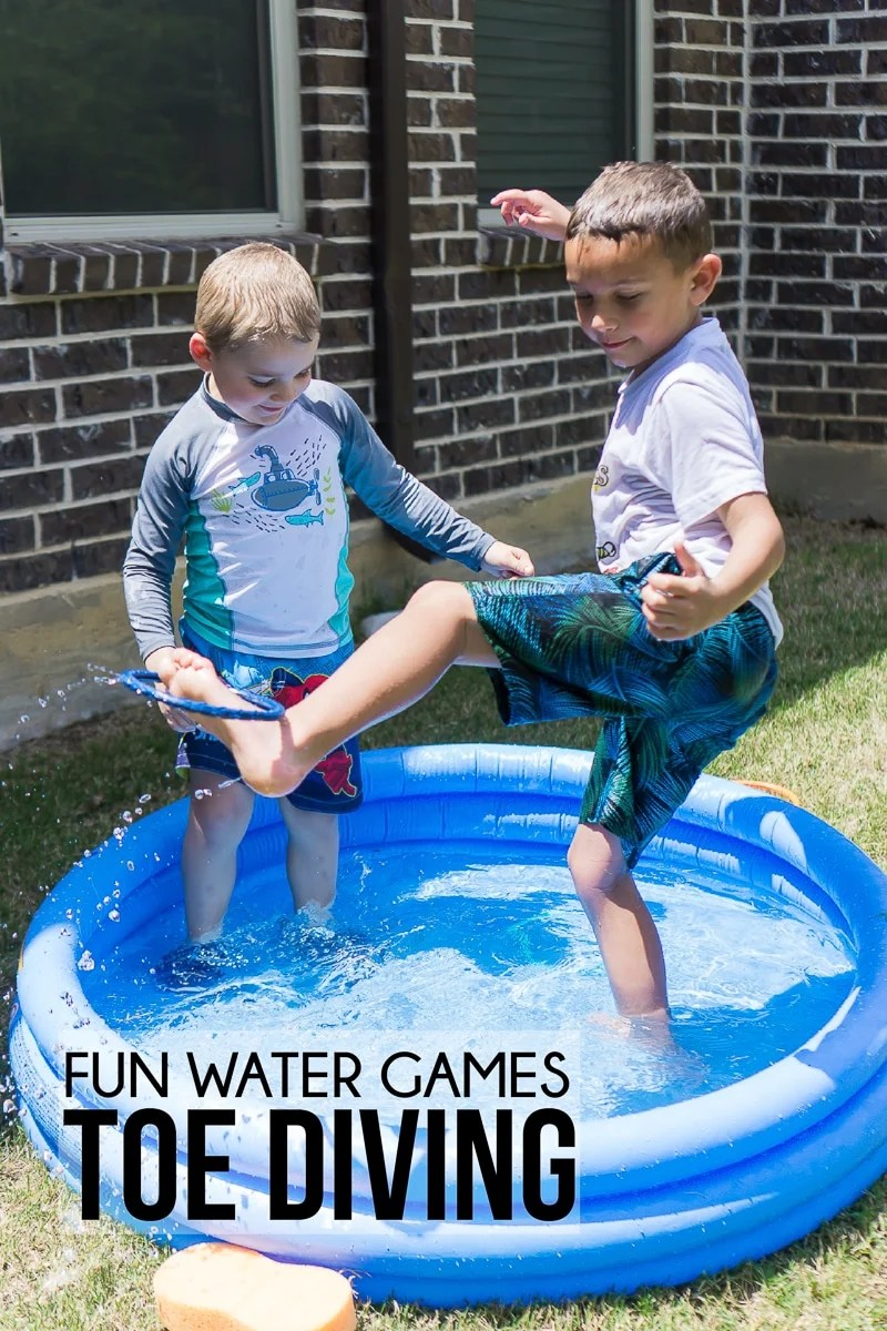 Kid picking up his foot in these fun water games