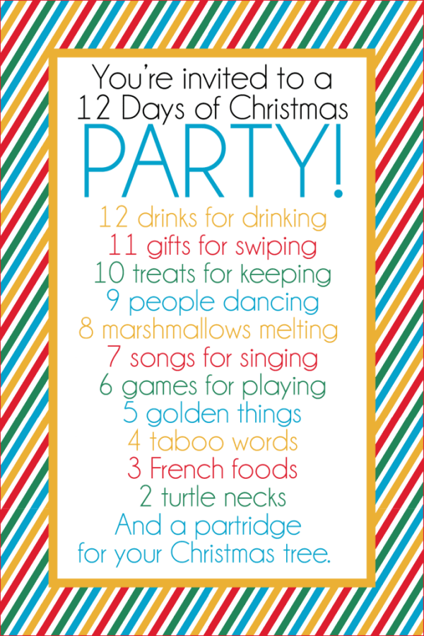 12 Days of Christmas Party Ideas Gift Exchange Game