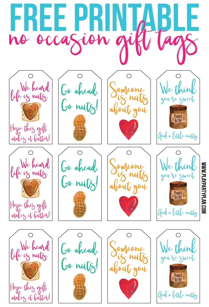 Free printable gift tags inspired by Culver's Flavor of the Day - peanut butter salted caramel.