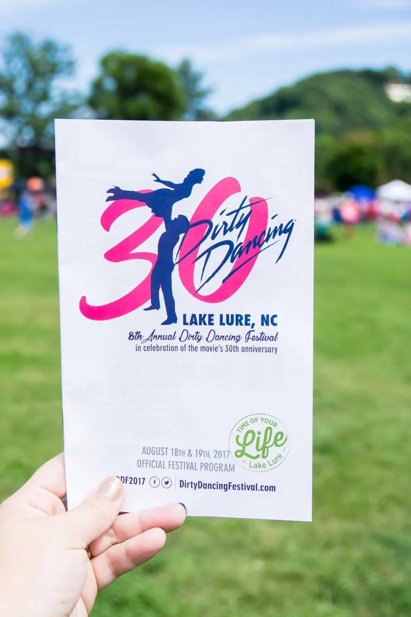 A program from the Lake Lure Dirty Dancing Festival