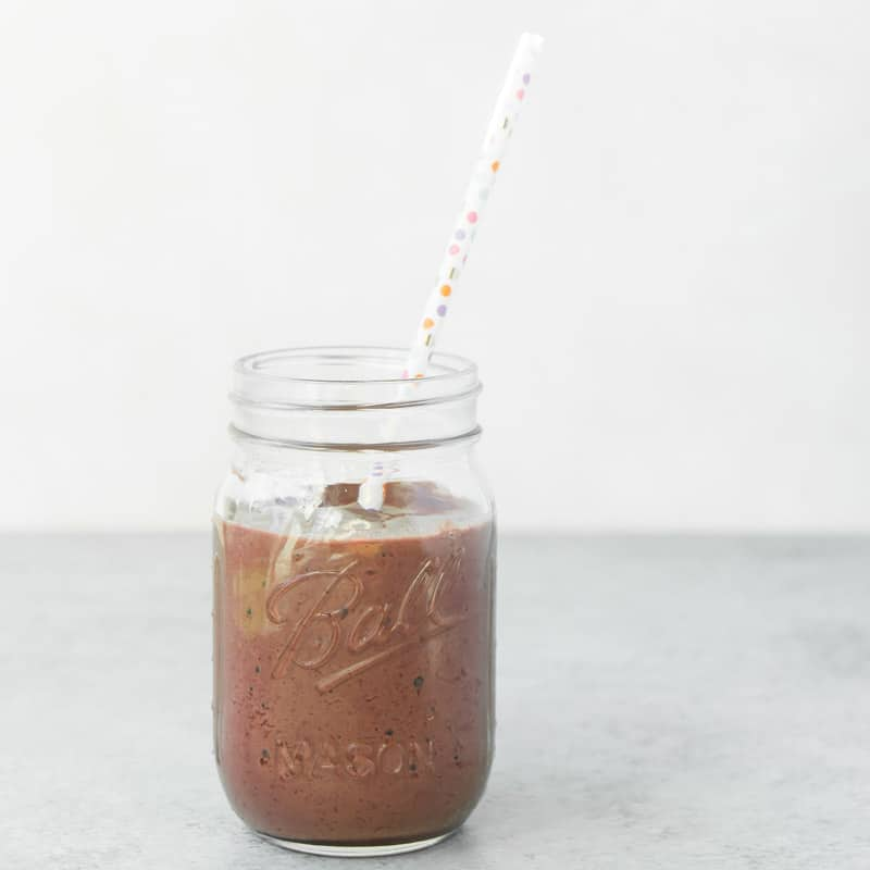 A close-up picture of a blackberry chocolate smoothie recipe