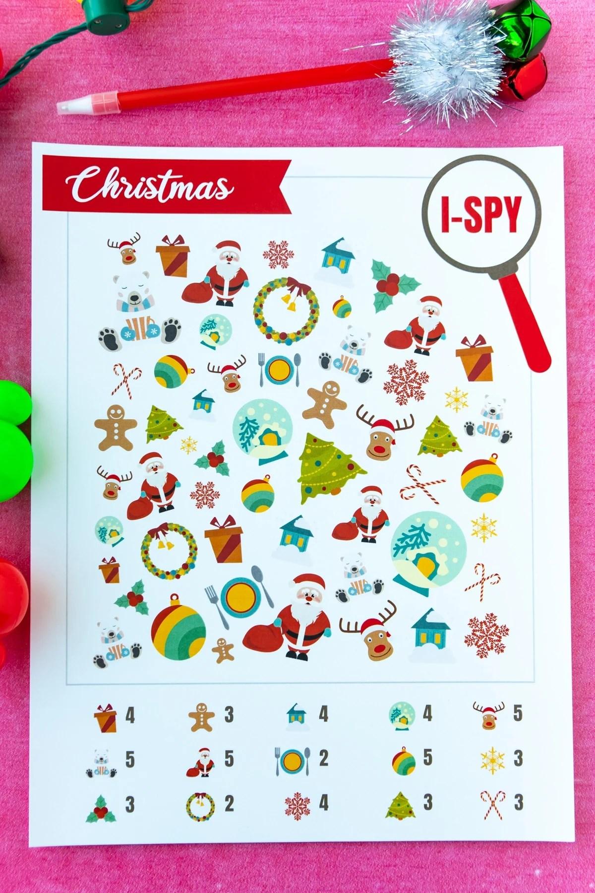 Free Printable Christmas I Spy Game For Kids