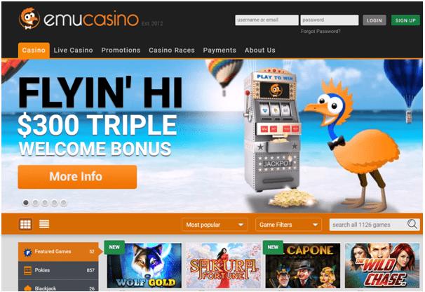 Bonus offers at Emu Casino