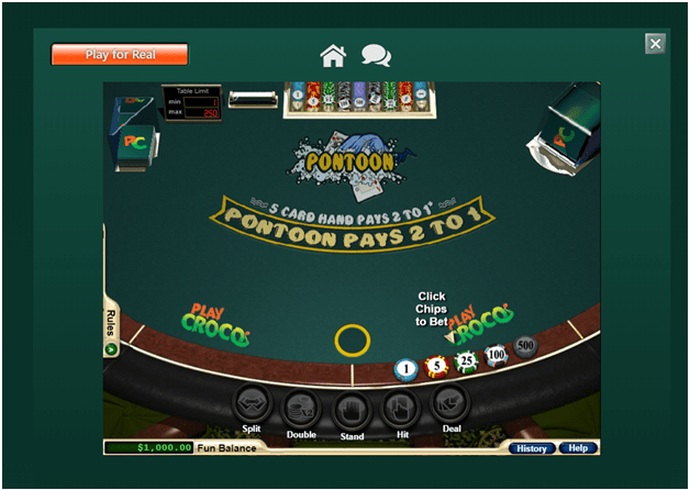 Play Pontoon at Play Croco Casino with real AUD