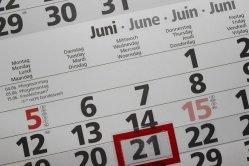 Calendar Dates April to September 2021