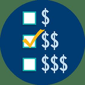 代表三種預算水平的表格,勾選中間的選項。