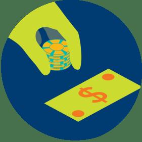 一隻手將三个籌碼放在一張鈔票旁邊。