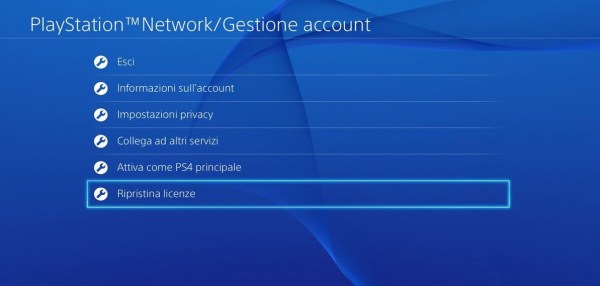 licenze bloccate playstation 4