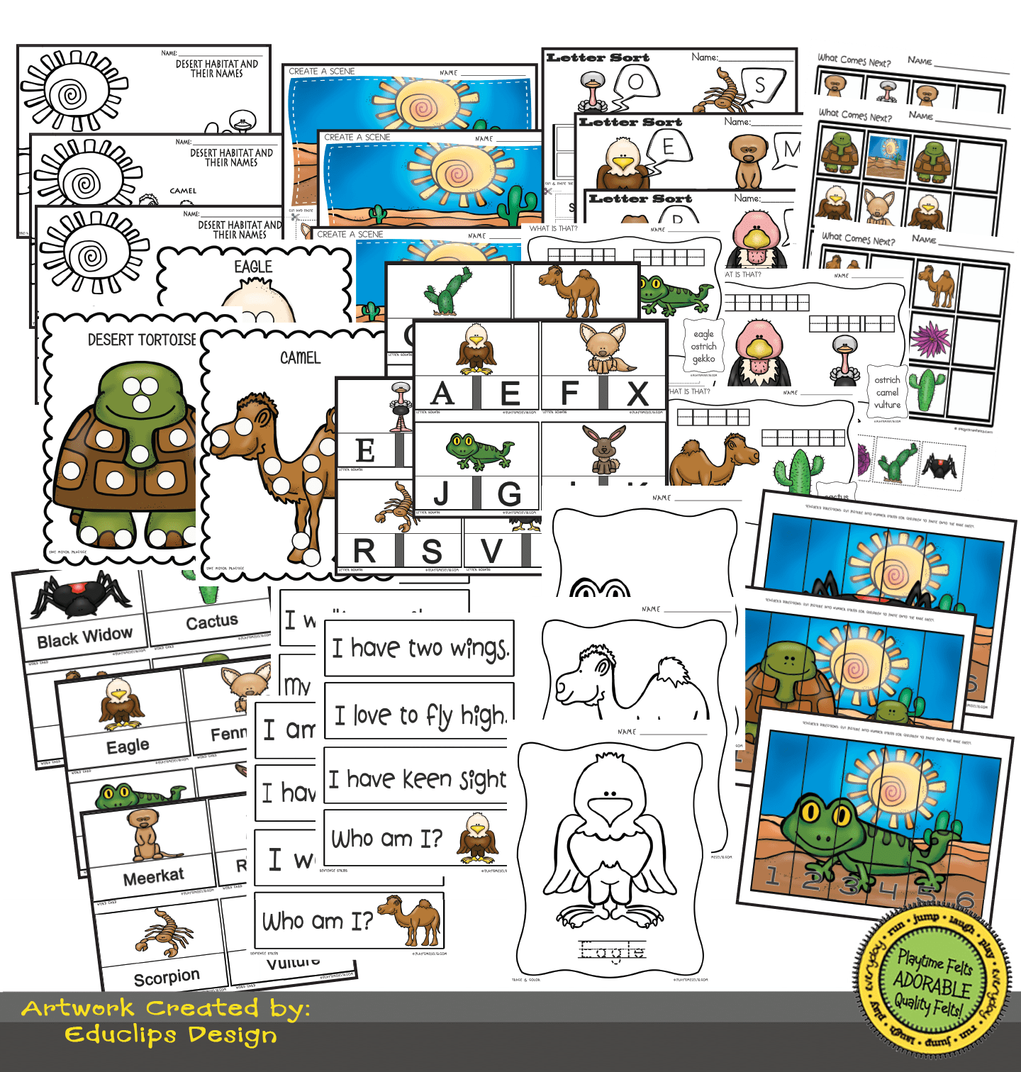 Desert Habitat Activity Worksheets For Preschool By Playtime Felts