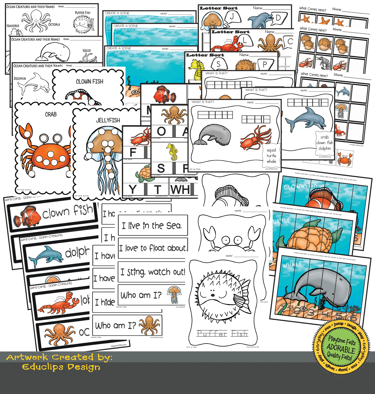 Ocean Creatures Preschool Worksheets