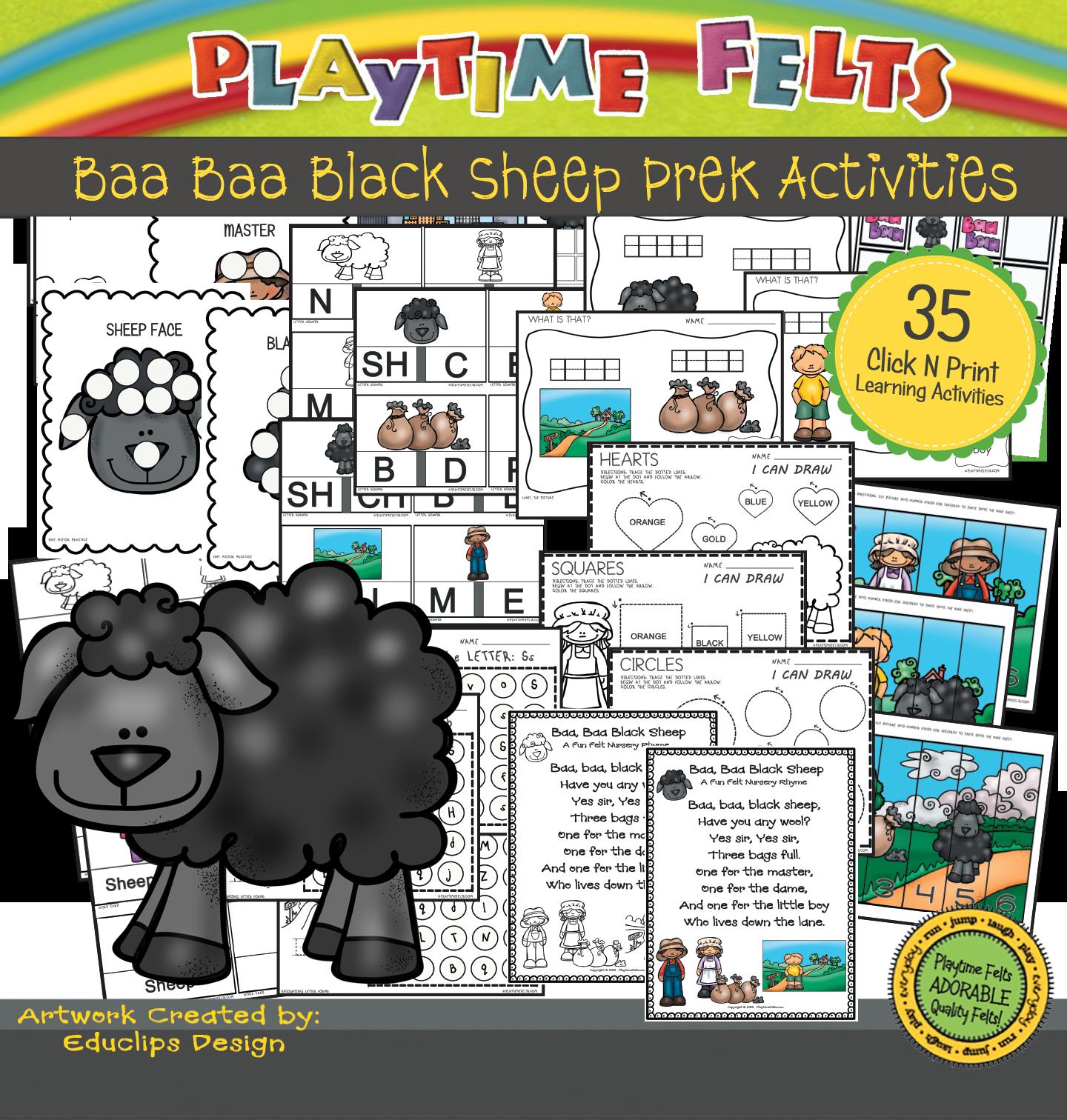 Baa Baa Black Sheep Activity Worksheets For Preschool By Playtime Felts